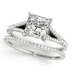 0.94 CTW Certified VS/SI Princess Diamond Solitaire 2Pc Set 14K White Gold - REF-129K5R - 31973