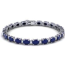 23.5 CTW Sapphire & VS/SI Certified Diamond Eternity Bracelet 10K White Gold - REF-143R6K - 29377