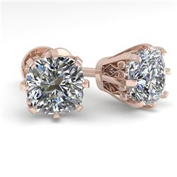 1.0 CTW VS/SI Cushion Cut Diamond Stud Solitaire Earrings 18K Rose Gold - REF-156F4M - 35675