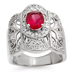 2.15 CTW Rubellite & Diamond Ring 10K White Gold - REF-75N3Y - 10686