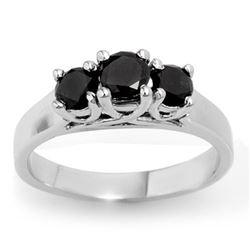 0.55 CTW Vs Certified Black Diamond 3 Stone Ring 18K White Gold - REF-54R5K - 13841
