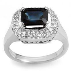 2.90 CTW Blue Sapphire & Diamond Ring 14K White Gold - REF-63K3R - 10630