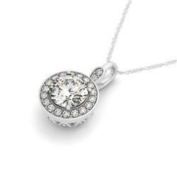 1.33 CTW Certified VS/SI Diamond Solitaire Halo Necklace 14K White Gold - REF-293K8R - 30155