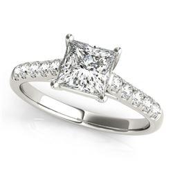 0.85 CTW Certified VS/SI Princess Diamond Ring 18K White Gold - REF-132N8Y - 28113