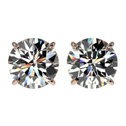 2.57 CTW Certified H-SI/I Quality Diamond Solitaire Stud Earrings 10K Rose Gold - REF-356F4M - 36678