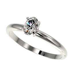 0.50 CTW Certified VS/SI Quality Oval Diamond Engagement Ring 10K White Gold - REF-77W6H - 32865