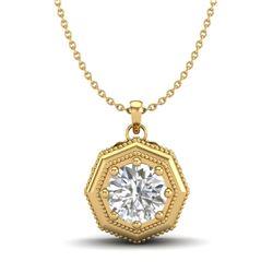 0.75 CTW VS/SI Diamond Solitaire Art Deco Necklace 18K Yellow Gold - REF-180X2T - 37099