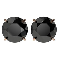 4 CTW Fancy Black VS Diamond Solitaire Stud Earrings 10K Rose Gold - REF-96M9F - 33135
