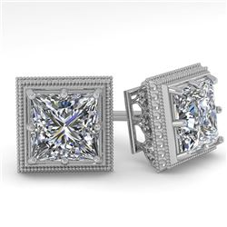 1.0 CTW VS/SI Princess Diamond Stud Solitaire Earrings 18K White Gold - REF-187X5T - 35961