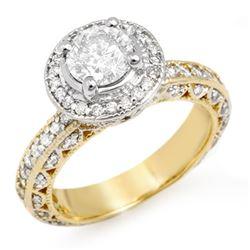 2.0 CTW Certified VS/SI Diamond Ring 14K 2-Tone Gold - REF-396T8X - 11364