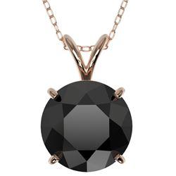 2.50 CTW Fancy Black VS Diamond Solitaire Necklace 10K Rose Gold - REF-61H5W - 33244