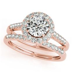 0.96 CTW Certified VS/SI Diamond 2Pc Wedding Set Solitaire Halo 14K Rose Gold - REF-140X2T - 30784