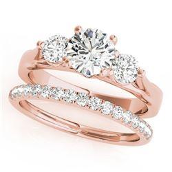 1.67 CTW Certified VS/SI Diamond 3 Stone 2Pc Wedding Set 14K Rose Gold - REF-255W6H - 32031