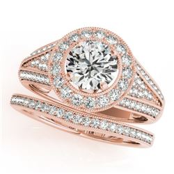 1.6 CTW Certified VS/SI Diamond 2Pc Wedding Set Solitaire Halo 14K Rose Gold - REF-245R5K - 31113