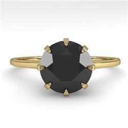 2.0 CTW Black Diamond Solitaire Engagement Ring Vintage Design 18K Yellow Gold - REF-78K2R - 35773