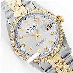 Rolex Ladies Two Tone 14K Gold/SS, Diamond Dial & Diamond Bezel, Saph Crystal - REF-363F3M