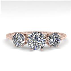 1 CTW Solitaire Past Present Future VS/SI Diamond Ring 18K Rose Gold - REF-157K5R - 35903