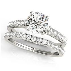 1.61 CTW Certified VS/SI Diamond Solitaire 2Pc Wedding Set 14K White Gold - REF-225M6F - 31700