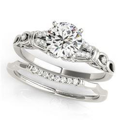 1.25 CTW Certified VS/SI Diamond Solitaire 2Pc Wedding Set 14K White Gold - REF-362W2H - 31898