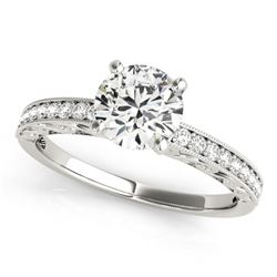 0.50 CTW Certified VS/SI Diamond Solitaire Micro Pave Ring 18K White Gold - REF-72F4M - 27240