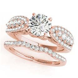 1.96 CTW Certified VS/SI Diamond Solitaire 2Pc Wedding Set 14K Rose Gold - REF-422T8X - 31905
