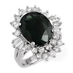 9.51 CTW Blue Sapphire & Diamond Ring 18K White Gold - REF-148K4R - 13253