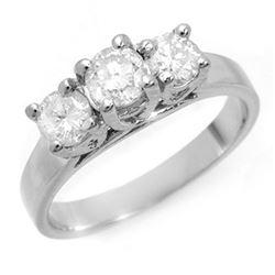 1.50 CTW Certified VS/SI Diamond 3 Stone Ring 14K White Gold - REF-204M4F - 10948