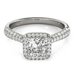 1.15 CTW Certified VS/SI Princess Diamond Solitaire Halo Ring 18K White Gold - REF-163M6F - 27093