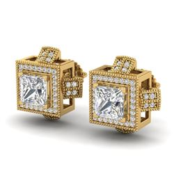 2.75 CTW Princess VS/SI Diamond Micro Pave Stud Earrings 18K Yellow Gold - REF-684M3F - 37189