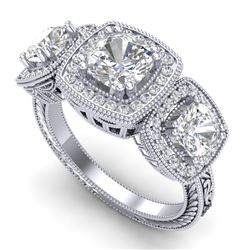2.75 CTW Cushion Cut VS/SI Diamond Art Deco 3 Stone Band 18K White Gold - REF-609T3X - 37040