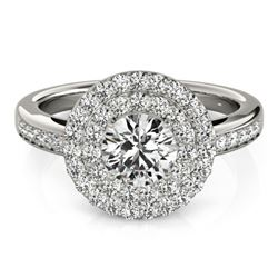 1.6 CTW Certified VS/SI Diamond Solitaire Halo Ring 18K White Gold - REF-234K4R - 26458