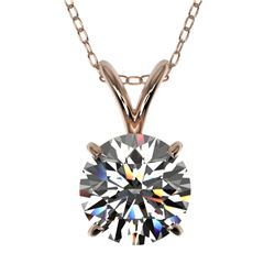 1.25 CTW Certified H-SI/I Quality Diamond Solitaire Necklace 10K Rose Gold - REF-175X5T - 33202