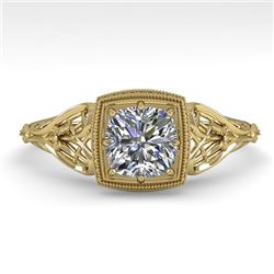0.50 CTW Certified VS/SI Cushion Diamond Engagement Ring Deco 18K Yellow Gold - REF-113R8K - 36028