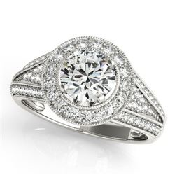 2.17 CTW Certified VS/SI Diamond Solitaire Halo Ring 18K White Gold - REF-617R8K - 26721