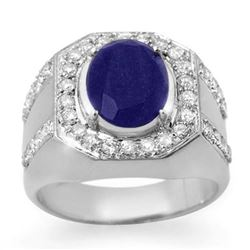 5.75 CTW Sapphire & Diamond Mens Ring 10K White Gold - REF-118M2F - 14496