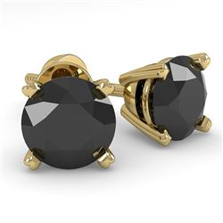 1.0 CTW Black Diamond Stud Designer Earrings 14K Yellow Gold - REF-32R2K - 38357