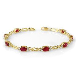 5.48 CTW Ruby & Diamond Bracelet 10K Yellow Gold - REF-34F5M - 14077