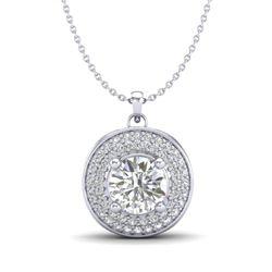 1.25 CTW VS/SI Diamond Solitaire Art Deco Necklace 18K White Gold - REF-272N8Y - 37259