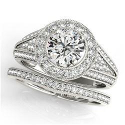 2.32 CTW Certified VS/SI Diamond 2Pc Wedding Set Solitaire Halo 14K White Gold - REF-585T5X - 31118
