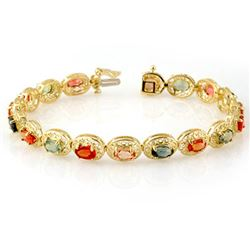12.90 CTW Multi-Color Sapphire Bracelet 10K Yellow Gold - REF-85K3R - 11706