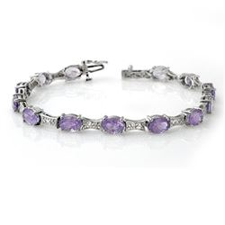 12.04 CTW Tanzanite & Diamond Bracelet 14K White Gold - REF-172T8X - 13807