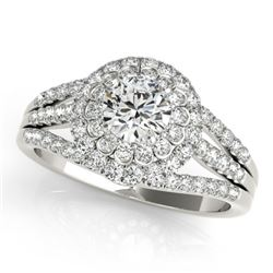 1.25 CTW Certified VS/SI Diamond Solitaire Halo Ring 18K White Gold - REF-174H5W - 26575