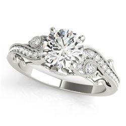 1.5 CTW Certified VS/SI Diamond Solitaire Antique Ring 18K White Gold - REF-488K5R - 27414