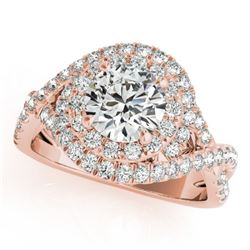 2 CTW Certified VS/SI Diamond Solitaire Halo Ring 18K Rose Gold - REF-544K5R - 26641