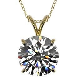 2.53 CTW Certified H-SI/I Quality Diamond Solitaire Necklace 10K Yellow Gold - REF-844M2F - 36820