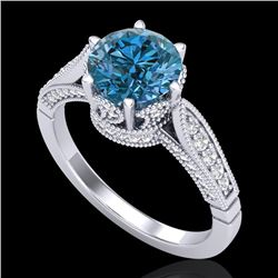 2.2 CTW Intense Blue Diamond Solitaire Engagement Art Deco Ring 18K White Gold - REF-314K5R - 38090