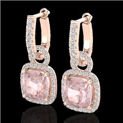 5.50 CTW Morganite & Micro Pave VS/SI Diamond Halo Earrings 14K Rose Gold - REF-152F8M - 22967