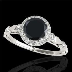 1.25 CTW Certified Vs Black Diamond Solitaire Halo Ring 10K White Gold - REF-55K5R - 33619