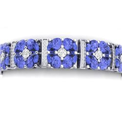 36.98 CTW Royalty Tanzanite & VS Diamond Bracelet 18K White Gold - REF-718N2Y - 39021