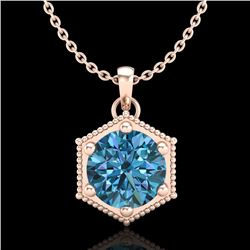 0.82 CTW Fancy Intense Blue Diamond Solitaire Art Deco Necklace 18K Rose Gold - REF-114K5R - 38049